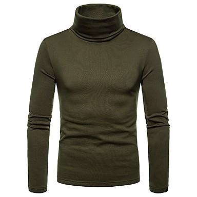 billige Herrers Mode Beklædning-Rullekrave Herre - Ensfarvet T-shirt Navyblå L / Langærmet