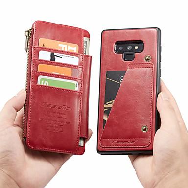 voordelige Galaxy Note-serie hoesjes / covers-CaseMe hoesje Voor Samsung Galaxy Note 9 Portemonnee / Kaarthouder / Flip Volledig hoesje Effen Hard PU-nahka voor Note 9