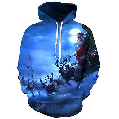 رجالي أساسي / مبالغ فيه قياس كبير فضفاض بنطلون - 3D / شخصية طباعة أزرق / مع قبعة / كم طويل / الخريف / الشتاء