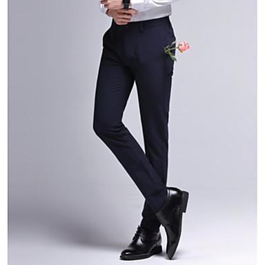 6875a3603 رجالي أساسي مناسب للبس اليومي نحيل بدلة بنطلون - لون سادة خصر عالي أسود  أزرق البحرية