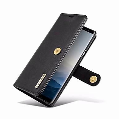 غطاء من أجل Samsung Galaxy Note 9 محفظة / حامل البطاقات / مع حامل غطاء كامل للجسم لون سادة قاسي جلد أصلي