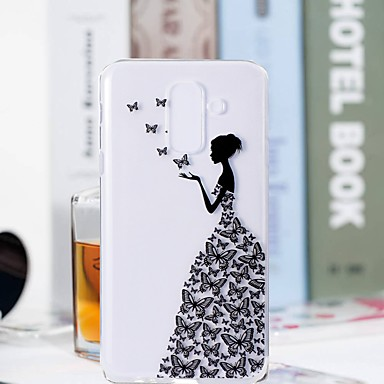 voordelige Galaxy A-serie hoesjes / covers-hoesje Voor Samsung Galaxy A6 (2018) / A6+ (2018) / A3 (2017) Transparant / Patroon Achterkant Vlinder / Sexy dame Zacht TPU