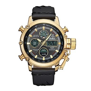 זול שעוני גברים-Oulm בגדי ריקוד גברים שעוני ספורט שעונים צבאיים שעון דיגיטלי Japanese קוורץ יפני עור שחור / חום 30 m עמיד במים לוח שנה LCD אנלוגי-דיגיטלי יום יומי אופנתי - אדום זהב /  שחור זהב / לבן שנה אחת חיי סוללה