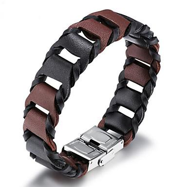 voordelige Heren Armband-Heren Wikkelarmbanden Lederen armbanden loom Bracelet Cut Out Stijlvol Punk Rock aitoa nahkaa Armband sieraden Bruin Voor Straat / Titanium Staal