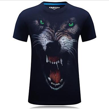 economico Abbigliamento uomo-T-shirt - Taglie forti Per uomo Moda città Con stampe, Animali Rotonda Lupo Nero XXXXL / Manica corta / Estate