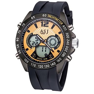 ASJ رجالي ساعة رياضية ساعة رقمية ياباني كوارتز سيليكون أسود / مسبح 30 m مقاوم للماء رزنامه الكرونوغراف تناظري-رقمي كاجوال موضة - أسود أزرق / قضية