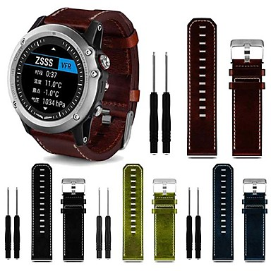 voordelige Smartwatch-accessoires-Horlogeband voor Fenix 5x / Fenix 5x Plus / Fenix 3 HR Garmin Leren lus Echt leer Polsband