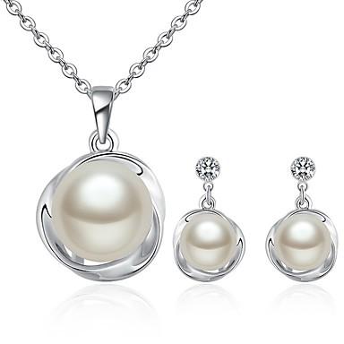 4a20224520f9 Mujer Blanco Perlas de agua dulce Solitario Conjunto de joyas Perla damas