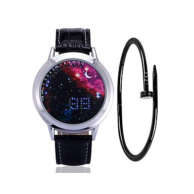 זול שעוני גברים-בגדי ריקוד גברים שעוני ספורט שעון דיגיטלי דיגיטלי ערכת מתנה עור שחור 30 m יצירתי עיצוב חדש LCD דיגיטלי אופנתי מינימליסטי - כחול שחור / כחול כסוף / אדום שנה אחת חיי סוללה / זוהר בחושך