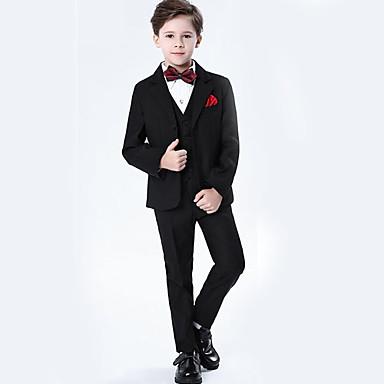 cheap Boys' Clothing-Kids Boys' Basic Solid Colored Long Sleeve Regular Polyester Clothing Set Black