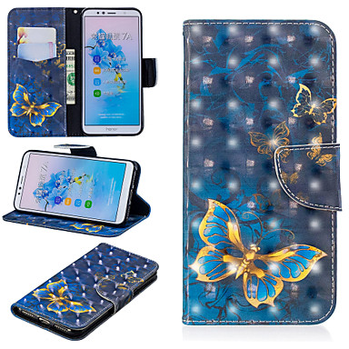 voordelige Huawei Mate hoesjes / covers-hoesje Voor Huawei Huawei Nova 3i / Huawei P Smart Plus / Honor 7A Portemonnee / Kaarthouder / met standaard Volledig hoesje Vlinder Hard PU-nahka