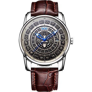 זול שעוני גברים-Angela Bos בגדי ריקוד גברים שעון מכני Japanese אוטומטי נמתח לבד עור אמיתי שחור / חום 30 m עמיד במים לוח שנה שעונים יום יומיים אנלוגי וינטאג' יום יומי - בלונד בהיר כסף / אפור / צג גדול
