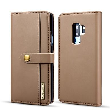 Недорогие Чехлы и кейсы для Galaxy S-Кейс для Назначение SSamsung Galaxy S9 Plus Кошелек / Бумажник для карт / со стендом Чехол Однотонный Твердый Кожа PU