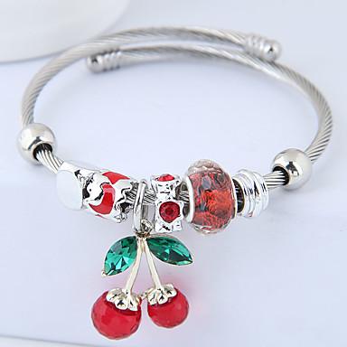 billige Damesmykker-Dame Vedhend Armband Tykk kjede Kirsebær damer Europeisk Mote søt stil Strass Armbånd Smykker Rød / Grønn / Rosa Til Fest Daglig