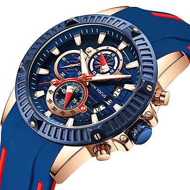 Χαμηλού Κόστους Ανδρικά ρολόγια-MINI FOCUS Ανδρικά Αθλητικό Ρολόι Παρακολουθήστε την αεροπορία Χαλαζίας σιλικόνη Μαύρο 30 m Χρονόμετρο Καθημερινό Ρολόι Απίθανο Αναλογικό Καθημερινό Μοντέρνα - Μπλε /  Μαύρο Κόκκινο Μπλε