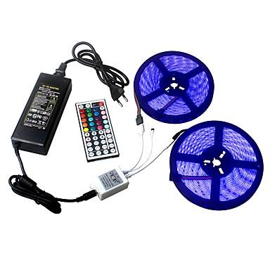 ieftine Lumini de Interior Mașină-ziqiao 2 * 5m / rând 60leds / m led banda dc12v smd 5050 impermeabil flexibilă led lumina bandă rgb44 cheia de la distanță de control