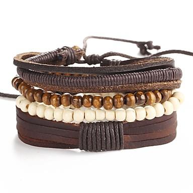 economico Bracciali-5 pezzi Per uomo Bracciali in pelle Intrecciato Corda Artistico Originale PU Gioielli braccialetto Marrone Per Evento Strada