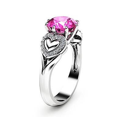 3e65e3331b045 abordables Anillo-Mujer Rosado Zirconia Cúbica Solitario Anillo Cobre  Chapado en Plata Diamante Sintético Corazón