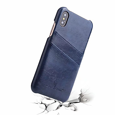 abordables Coques d'iPhone-Coque Pour Apple iPhone X Porte Carte Coque Couleur Pleine Dur Cuir véritable