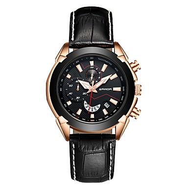 זול שעוני גברים-SANDA בגדי ריקוד גברים שעוני שמלה שעון יד Japanese קוורץ יפני עור אמיתי שחור / חום 30 m עמיד במים לוח שנה שעון עצר אנלוגי-דיגיטלי קלסי אופנתי - שחור חום