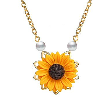 cheap Rose Gold Necklaces-Women's Pendant Necklace Classic Daisy Ladies Elegant Resin Alloy Gold Silver Rose Gold 45 cm Necklace Jewelry 1pc For Gift Festival