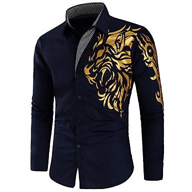 economico Abbigliamento uomo-Camicia Per uomo Moda città Animali / Tribale Nero L / Manica lunga / Taglia piccola