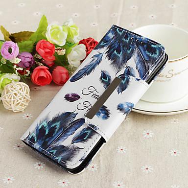 voordelige Galaxy A-serie hoesjes / covers-hoesje Voor Samsung Galaxy A6 (2018) / A6+ (2018) / Galaxy A7(2018) Portemonnee / met standaard / Patroon Volledig hoesje Veren Hard TPU