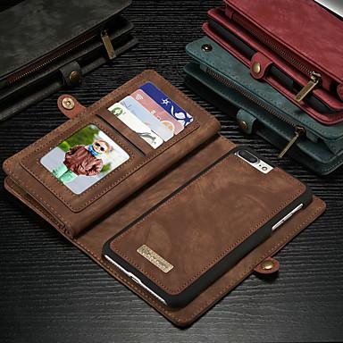 Недорогие Кейсы для iPhone-Кейс для Назначение Apple iPhone 8 Pluss / iPhone 7 Plus Кошелек / Бумажник для карт / со стендом Чехол Однотонный Твердый Кожа PU
