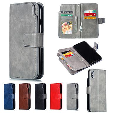 voordelige iPhone X hoesjes-hoesje Voor Apple iPhone XS / iPhone XR / iPhone XS Max Portemonnee / met standaard Volledig hoesje Effen Hard PU-nahka
