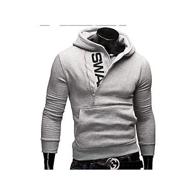 economico Abbigliamento uomo-Per uomo Attivo Manica lunga Felpa con cappuccio Monocolore Con cappuccio / Autunno / Inverno