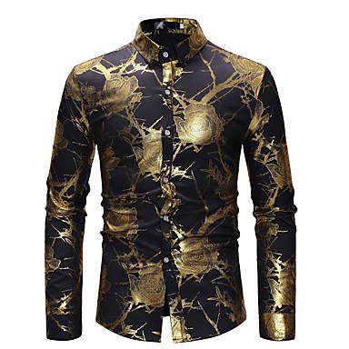 economico Abbigliamento uomo-Camicia Per uomo Feste / Serata Lusso / Essenziale Con stampe, Fantasia floreale Cotone Nero M / Manica lunga