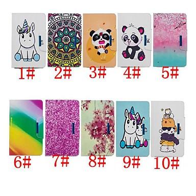 voordelige Samsung Tab-serie hoesjes / covers-hoesje Voor Samsung Galaxy Tab 4 10.1 / Tab S4 10.5 (2018) / Tab E 9.6 Portemonnee / Schokbestendig / met standaard Volledig hoesje Eenhoorn / Panda / Bloem Hard PU-nahka
