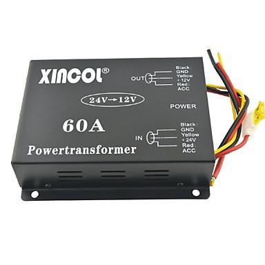 billige Strøm Omformer-xincol® køretøj bil dc 24v til 12v 60a strømforsyning transformer konverter med dual fan regulering-sort
