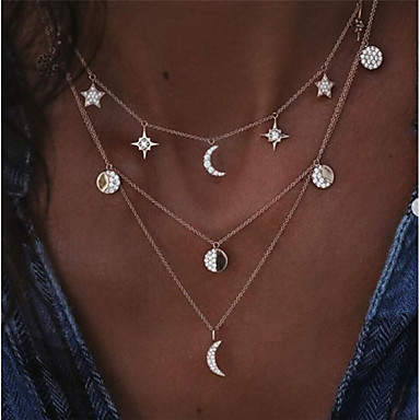 cheap Fashion Necklaces-Women's Clear Layered Necklace Layered Floating Moon Star Crescent Moon Ladies Artistic Geometric Trendy Alloy Gold Silver 40 cm Necklace Jewelry 1pc For Daily Masquerade