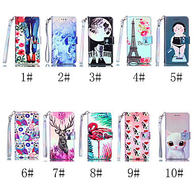 voordelige iPhone 7 hoesjes-hoesje Voor Apple iPhone XS / iPhone XR / iPhone XS Max Portemonnee / Kaarthouder / met standaard Volledig hoesje Kat / Hond / Flamingo Hard PU-nahka