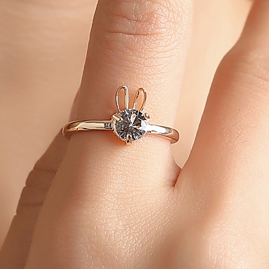 960a9d438 cheap Rings-Women's White Hollow Ring Tail Ring Copper Rhinestone  Rabbit