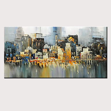 economico Arte muraria-Hang-Dipinto ad olio Dipinta a mano - Astratto Paesaggi Modern Senza telaio interno / Tela arrotolata