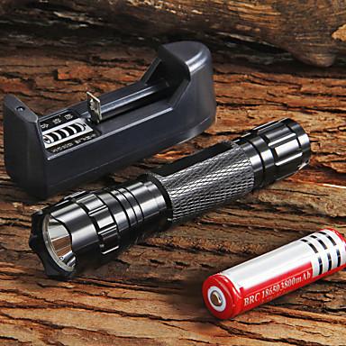 UltraFire Lanterne LED LED LED 1 emițători 1300 lm 5 Mod Zbor Cu Baterie și Încărcător Focalizare Ajustabilă Mâner antialunecare Camping / Cățărare / Speologie Utilizare Zilnică Ciclism