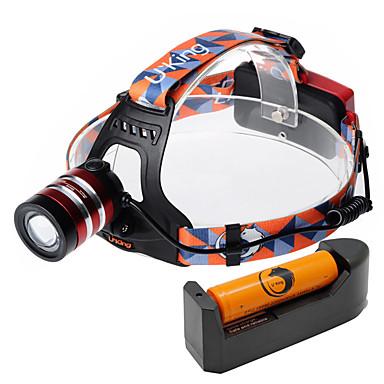 U'King Frontale Becul farurilor 1000 lm LED LED 1 emițători 3 Mod Zbor Cu Baterie și Încărcător Zoomable Focalizare Ajustabilă De mare putere Camping / Cățărare / Speologie Utilizare Zilnică Ciclism