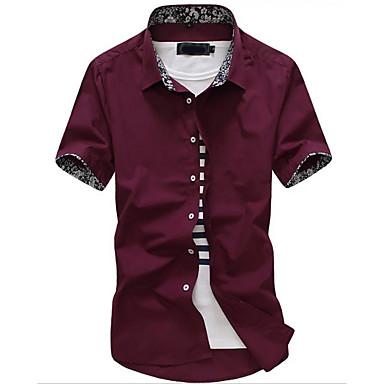 billige Herrers Mode Beklædning-Tynd Herre - Ensfarvet Bomuld Basale Skjorte Sort XL / Kortærmet