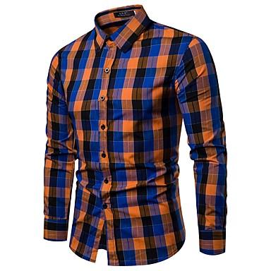 baratos Roupa de Homem Moderna-Homens Camisa Social Negócio / Básico Estampado, Houndstooth / Xadrez Colarinho Clássico Azul L / Manga Longa