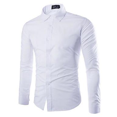economico Abbigliamento uomo-Camicia Per uomo Tinta unita Azzurro XL / Manica lunga / Taglia piccola