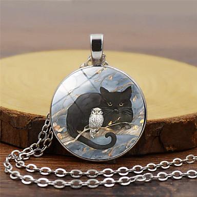 preiswerte Halsketten-Damen Pendant Halskette Klassisch Katze Eule Retro Glas Chrom Gold Schwarz Silber 45+5 cm Modische Halsketten Schmuck 1pc Für Festtage Ausgehen