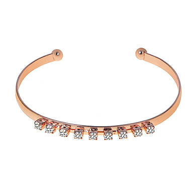 Women's Classic Cuff Bracelet - Rhinestone Simple Bracelet Jewelry Silver / Rose Gold / Champagne For Daily Holiday