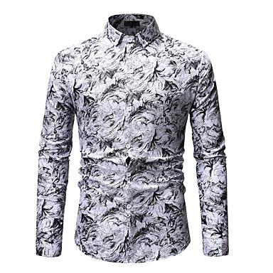 billige Herrers Mode Beklædning-Spredt krave Herre - Blomstret Trykt mønster Basale / Gade Skjorte Blå XL / Langærmet / Forår / Efterår