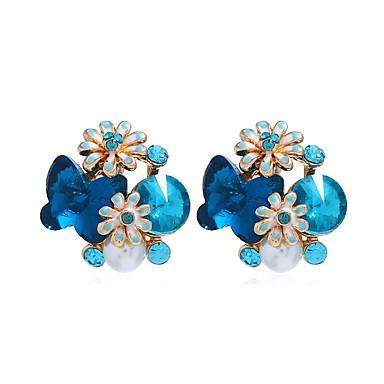ieftine Cercei-Pentru femei Cercei Stud Extravagant Floare Romantic cercei Bijuterii Albastru / Roz Pentru Petrecere Zi de Naștere Concediu 1 Pair