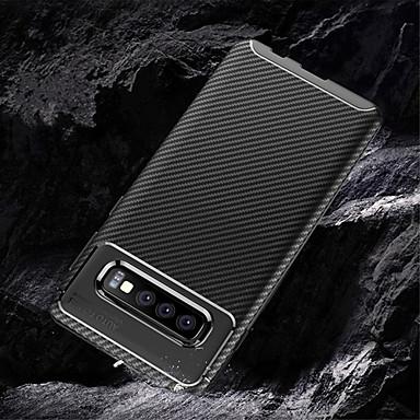 Etui Käyttötarkoitus Samsung Galaxy Galaxy S10 / Galaxy S10 Plus Koristeltu Takakuori Yhtenäinen Pehmeä Hiilikuitu varten S9 / S9 Plus / Galaxy S10