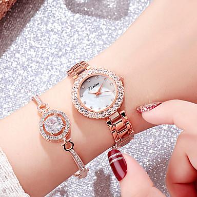 בגדי ריקוד נשים שעון יד שעון יהלומים שעון זהב Japanese קווארץ מתכת אל חלד כסף / זהב ורד 30 m עיצוב חדש שעונים יום יומיים חיקוי יהלום אנלוגי מדבקות עם נצנצים צמיד אופנתי אלגנטית - כסף ורד / שנה אחת