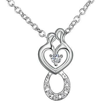 5c40722c2635 Mujer Claro Zirconia Cúbica diamante pequeño Rolo Collares con colgantes Collar  Plateado Corazón Simple Romántico Moda