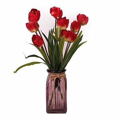 Künstliche Blumen 2 Ast Klassisch Stilvoll Modern Tulpen Tisch-Blumen